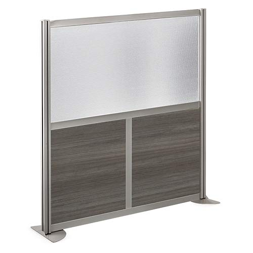 at Work 49'' W x 53'' H Room Divider Gray Laminate and Plexiglass Inserts/Brushed Nickel Painted Aluminum Frame by NBF Signature Series