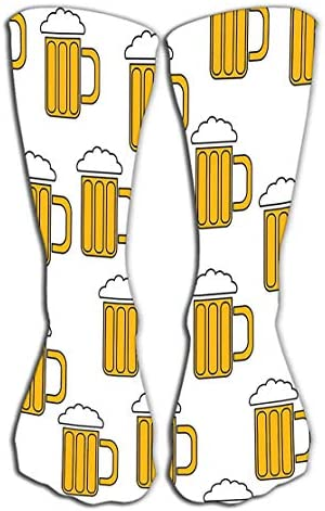 SDFGSE Socks Women Luxury Cotton Colorful Cool Fun Knee high Socks Seamless Pattern Simple Abstract Alcoholic Beer Glass Glasses Handles