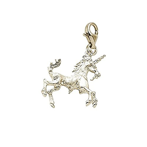 14K Yellow Gold Unicorn Charm With Lobster Claw Clasp, Charms for Bracelets and Necklaces (Gold Charm Yellow 14k Unicorn)