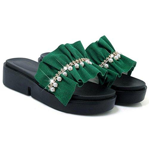 Femmes Green Semelle Mules Epaisee TAOFFEN Sd6OS