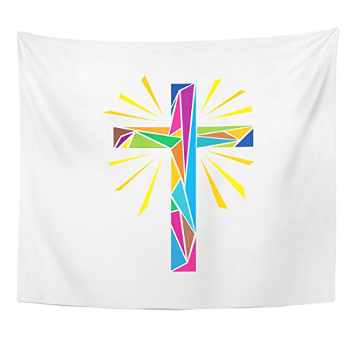 Breezat Tapestry Catholic Church Christian Symbols the Cross of Jesus Christ Made Up Colored Shine Rays Easter Home Decor Wall Hanging for Living Room Bedroom Dorm 50x60 Inches by Breezat
