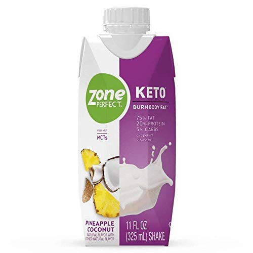 ZonePerfect Keto Nutrition Shake, Pineapple Coconut, 4 bottles, Total Weight 44 fl oz