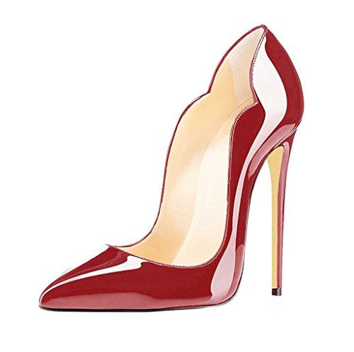 EDEFS Womens Pointed Toe High Heel Court Shoes Sexy Stiletto Pumps Cut-outs Dress Shoes Bordeaux jLaedzBY