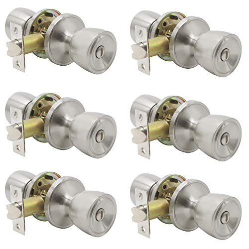 Probrico Privacy Interior Door Knobs Bed and Bath Handle Keyless Brushed Nickel Lockset 6 Pack
