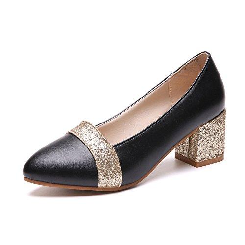 Einer Der Schoenen 37 Stilvollen Und Spitze yalanshop Schwarz Frauen Dick Jahreszeiten Mit Vier Schuhe Einfarbig RRSXA0