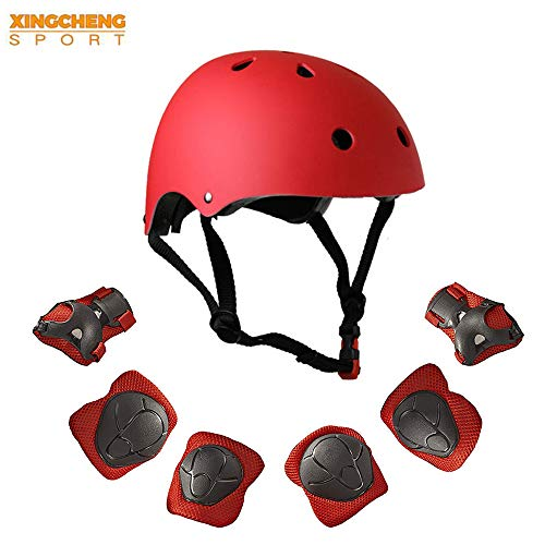 - XINGCHENGSPORT Kids Multi-Sport Helmet with Knee&Elbow Pads and Wrists 7 Pieces Kids Boys and Girls Outdoor Sports Safety Protective Gear Set for Skateboard Cycling Skate Scooter(4-8 Years Old) (Red)