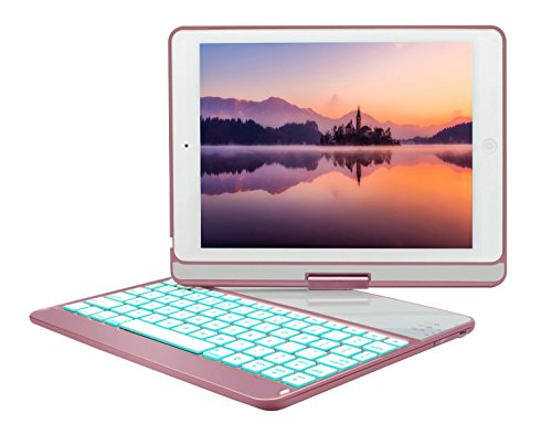 Price comparison product image 2017 iPad Case with Keyboard 9.7 Inch,elecfan Bluetooth Wireless 7 Color Backlit Keyboard Case 360 Rotating Stand Cover Auto Sleep & Wake Smart Folio Cover for 2017 New iPad 9.7 Inch - Rose Gold