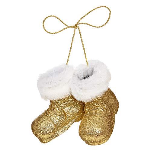 RAZ Imports Gold Glittered Santa Boots 5 x 4 Inch Faux Fur Cuff Christmas Ornament]()
