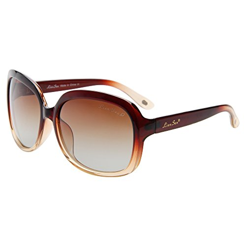 (LianSan Oversized Womens Sunglasses Polarized uv Protection Simple Sunglasses LSP301(gradient brown frame gradient brown lenses))