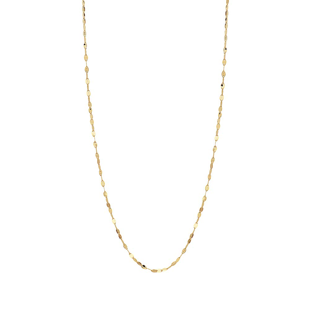 10K Solid Gold 2.0MM Diamond Cut Mirror Chain Necklace -Unisex Sizes 14''-30''- Multiple colors Available (Yellow, 16)