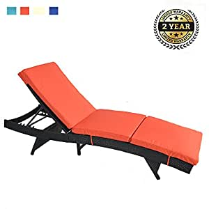 Patio Lounge Chair Outdoor Rattan Adjustable Black PE Wicker Sunbed Furniture with Cushion