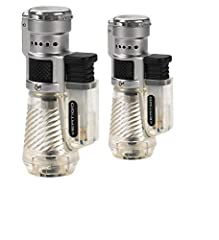 Two [2] brand new Cyclone 3 flame torch cigar lighters. Affordable priced, rugged design and attractive finish make this Vertigo product a must have for any serious cigar smoker. To keep your lighter looking new, and to protect the finish, ea...