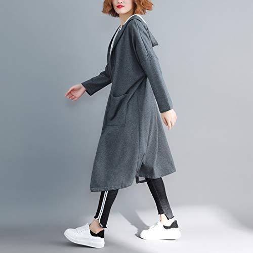 Autumn Black Giacca Con color In Cappuccio Donna Maniche Student Lunghe Cotone Commute Spring Grey And Omasuwi A Cardigan Da Dark FxTqxO