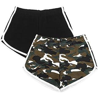 URATOT 2 Pack Cotton Sports Shorts Yoga Short Pants Summer Running Athletic Shorts Women Dance Gym Workout Elastic Waist Shorts