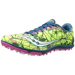 Saucony Women's Shay XC4 Flat Cross Country Flat Shoe,Citron/Navy/Pink,5.5 M US