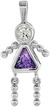 Sterling Silver Birthstone Necklace February Baby Brat Girl Amethyst Color Cubic Zirconia, 1.5 mm Chain
