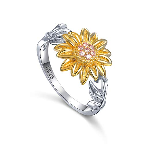 S925 Sterling Silver Cute Sunflower CZ Leaf Ring for Women Girls Size 7