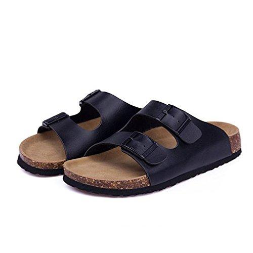 Sabots Double Femmes Beach Summer La Plus Slip Cork Chaussure Pantoufles Glissières Flip Taille Casual Flop Boucle Black Sur nIqAYq8w