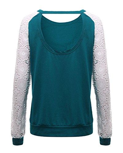 ZANZEA Mujeres Camisetas Empalme Delgada Con Manga Larga Espalda Al Aire Halter Top Verde oscuro