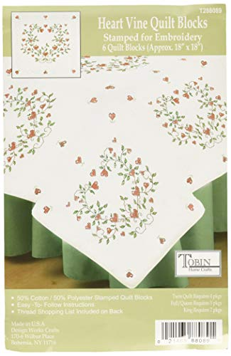 "Tobin Stamped White 18""X18"" 6/Pkg-Heart Vine Quilt Blocks"