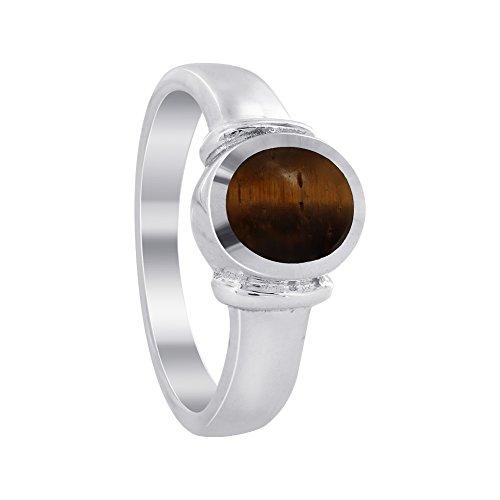 Gem Avenue 925 Sterling Silver Oval Brown Tiger eye Gemstone Solitaire Ring