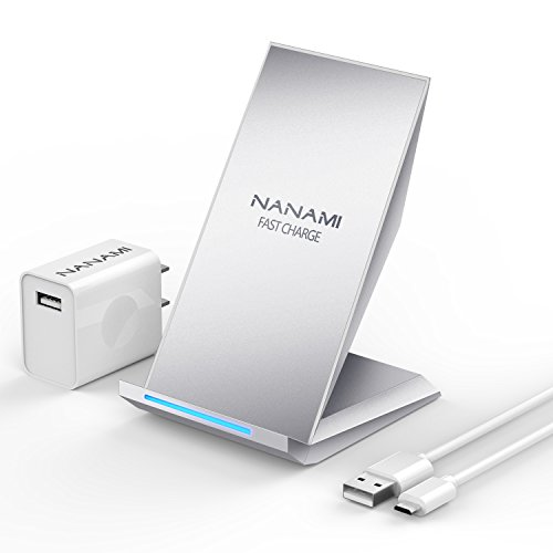 NANAMI Fast Wireless Charger, Qi Certified Wireless Charging Stand [with QC2.0 Adapter] Compatible iPhone 11/11 Pro/11 Pro Max/XR/XS Max/XS/X/8/8 Plus,10W for Samsung Galaxy S10+/S9/S8/S7/Note 10/9/8