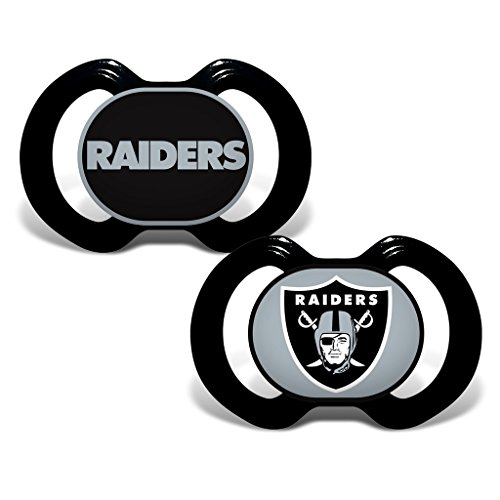 (NFL Football 2014 Baby Infant Pacifier 2-Pack - Pick Team (Oakland Raiders - Holes))