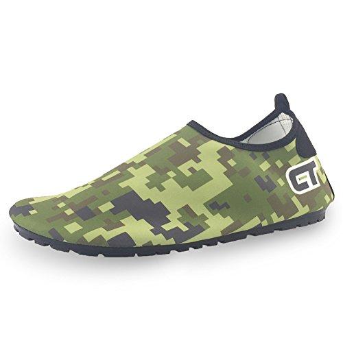 SENFI [Verbesserte Ver Quick-Dry Barefoot Wassersport Aqua Schuhe für Beach Surf Bootfahren Schnorcheln schwimmen M. Army