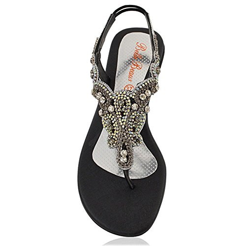 f7d6ec822 ESSEX GLAM Womens Slingback Sandals Ladies Diamante Toe Post Thong Stretchy  Flat Holiday Evening Sandals
