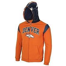 NFL Denver Broncos Big Boys Youth Full Zip Helmet Masked Hoodie, Orange Small
