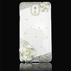 Flip White Flower Crystal Diamond Bling White Case Cover for Samsung Galaxy NOTE III N9000 Match flower hanger