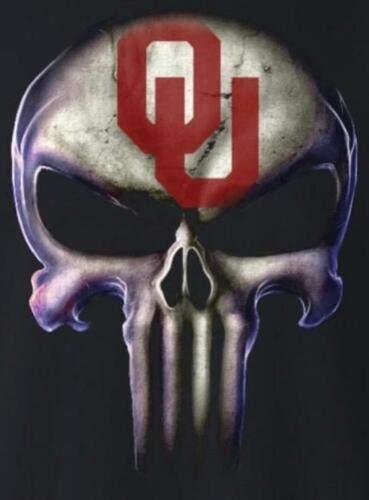 Set of 2 Oklahoma Sooners Punisher Decal Skull Sticker Laptop Car Sticker Truck Window Bumper Vinyl Logo Helmet