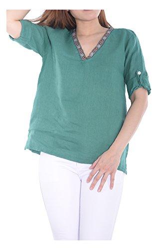 Confortable Transition Fashion Vente Ig019 Italie Fabriqué Automne Élégant Vert Nouvelle Doux Couleurs Branché Top Plaine Femme 97752 Tendresse art Printemps Abbino En Flexible Sexy Plusieurs Shirt 6Bd11