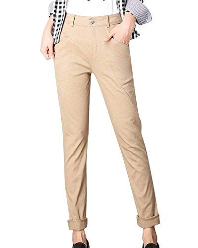 Donna Trousers Battercake Pantaloni Business Chino Eleganti Colori Waist Tempo Libero Pantaloni Cerniera Matita Ufficio Kaki Donne Solidi High Fashion Pantaloni Con Skinny HaiDean A Casuale qItgwI