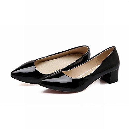 Mee Shoes Damen modern elegant bequem spitz Niedrig Blockabsatz Geschlossen Pumps Schwarz