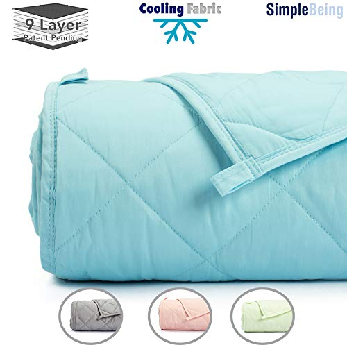 Simple Being Weighted Blanket 3.0, 80x87 25lb, Patent Pending 9 Layers Design, Best Adult Heavy Calming Blanket, Cooling Cotton Hypoallergenic Glass Beads, High Degrees of Breathability, Sky Blue