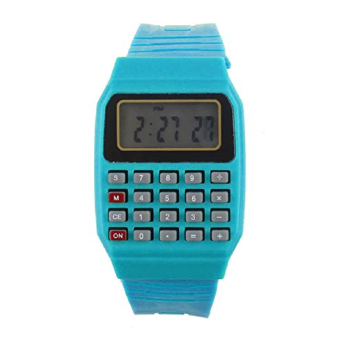 Wrist Calculator,Lookatool Unsex Silicone Multi-Purpose Date Time Electronic Wrist Calculator Watch Blue