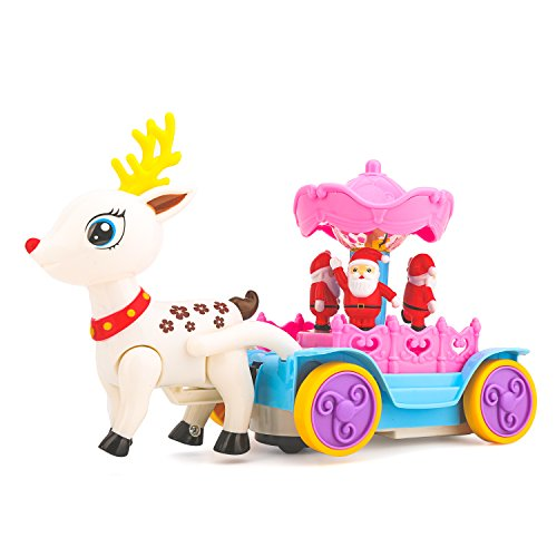 Zooawa Christmas Santa Claus's Sleigh with Reindeer, Electronic Fun Play Vehicle Toy with LED Flashing Light and Music - Colorful