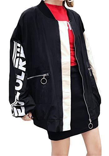 Manica Digitale Giacca Bolawoo Outwear Tasche Colori Marca Elegante Misti Lunga Giacche Giaccone Di Cerniera Pattern Stampato Donna Baseball Con Giovane Schwarz Mode Sottile Baggy Autunno RR6tqwxA