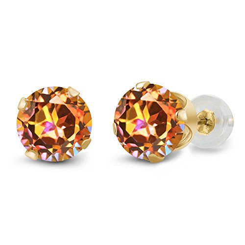 - Gem Stone King 14K Yellow Gold Ecstasy Mystic Topaz 4-Prong Stud Earrings 1.90 Ct Round Cut 6MM
