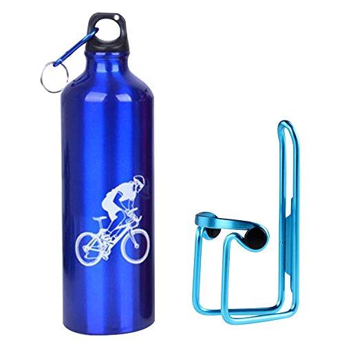 Bottle Cage Holder and Bike Water Bottle 750ml Aluminum Alloy Rack Bracket Universal Drink Bottle Mount Carrier Cycling Handlebar Component Support Kit+CE Standard 4 Colors-Blue ()