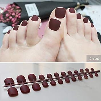 Amazon.com : Brown Matte Fake Toenails Black Toes Simple Short Nude ...