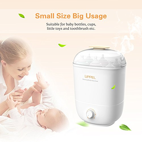Steam Sterilizer and Dryer Sanitizer Electric for Natural Bottles Breast Pumps and Toys Universal Fit Pacifiers Glass Plastic Feeding Bottles by Uppel (Image #7)