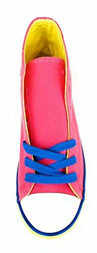 Edición Altas Par Especial Extra Mujer Cordones Coloridas de Canvas BRANDELIA Zapatillas Regalo de Fucsia Lona Bw5aaq