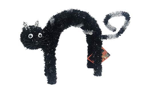 FLOMO Happy Halloween Decorative Tinsel 3D Black Cat Mantel Office Classroom Decor (Scared Cat)]()