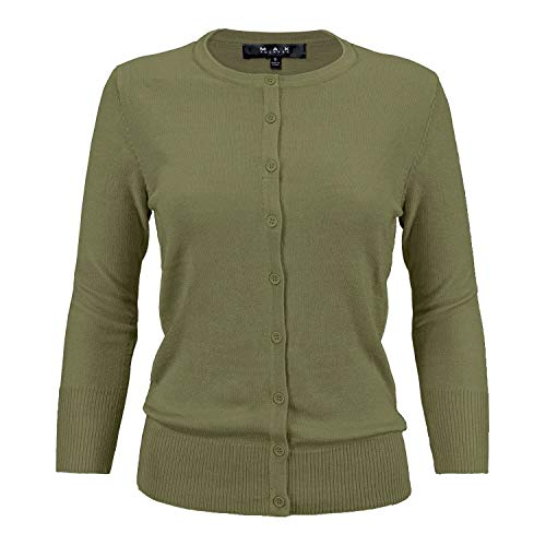 (Women's Crewneck Button Down Knit Cardigan Sweater Vintage Inspired CO079-OLV-L Olive)