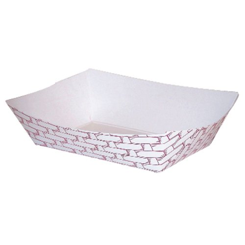 Huhtamaki 35122042 Red Weave 2 Lb Paperboard Food Tray - 1000/CS