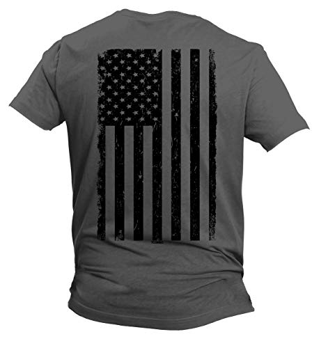 Distressed Black USA Flag - United States Men's T-Shirt (Charcoal - Back Print, Large)