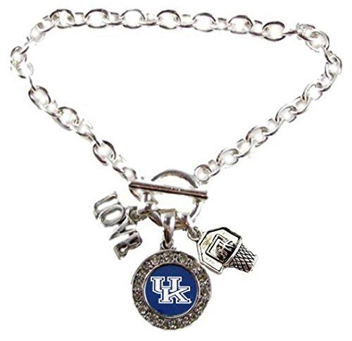 KENTUCKY WILDCATS Multi Charm Love Basketball Blue Silver Bracelet Jewelry-UK Basketball (Silver Basketball Bracelet)