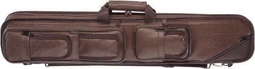 Soft Side Cue Case - Lucasi Brown Leatherette Soft Pool Cue Case with Black Accents, 4B/8S (LC5)